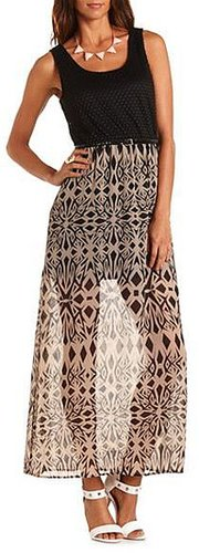 Crochet Bust Belted Maxi Dress