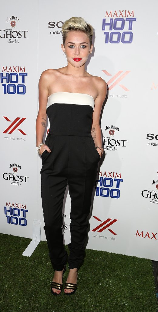 Going back to basics in a Valentino jumpsuit for Maxim's Hot 100 celebration in Las Vegas.