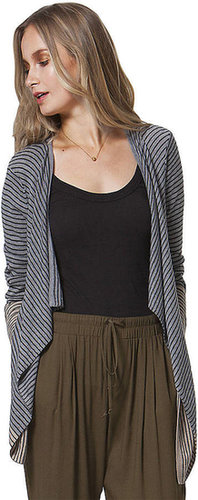 C&C CALIFORNIA Striped Wool-Blend Drape Cardigan