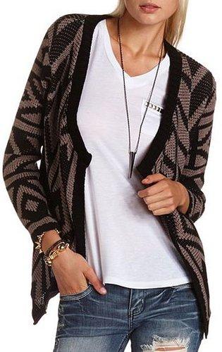 Aztec Print Knit Cardigan