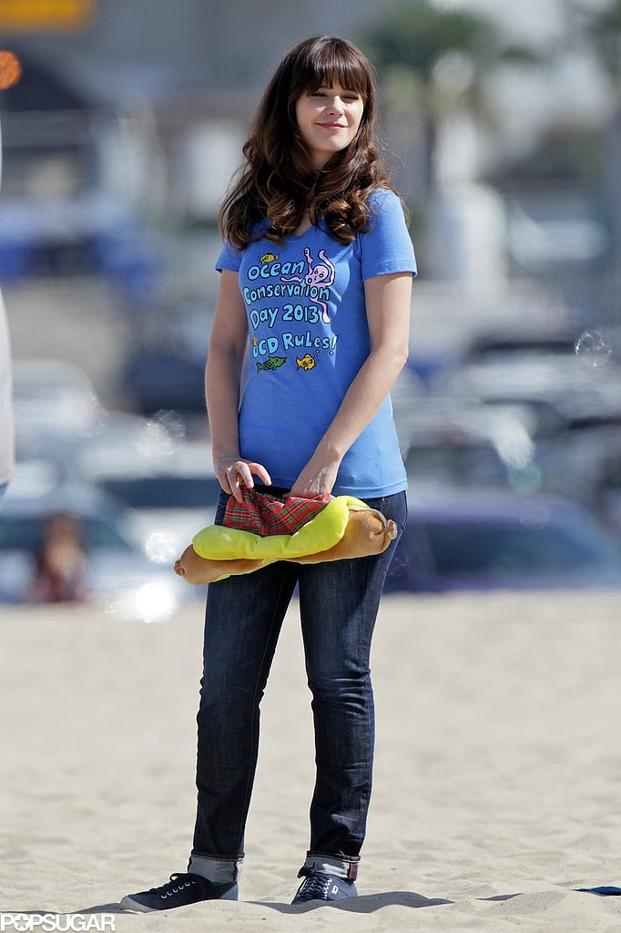 Zooey Deschanel filmed scenes for New Girl.