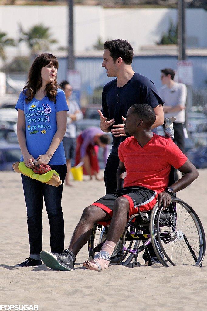Jake Johnson and Zooey Deschanel filmed a scene with wheelchair-confined Lamorne Morris.