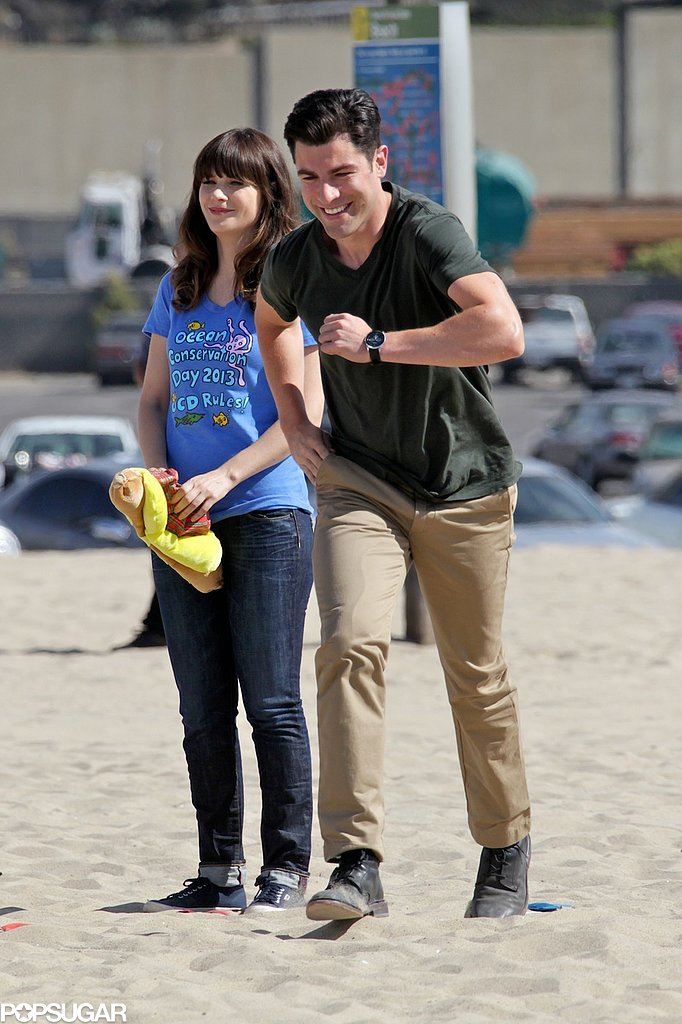 Max Greenfield took off on a run during a scene.