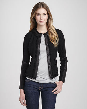 Rebecca Taylor Leather-Trim Tweed Blazer
