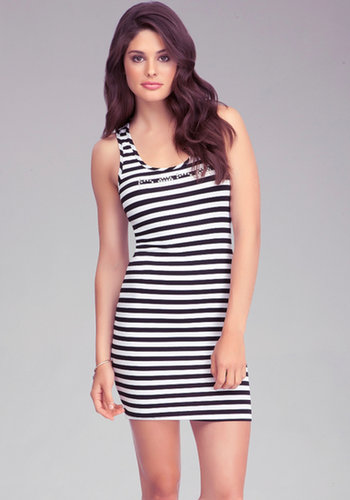 Logo Stripe High Low Dress