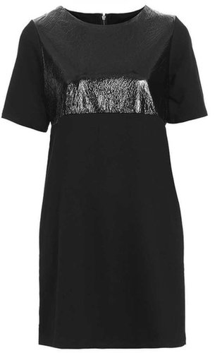 Faux Leather Sweat Tee Dress