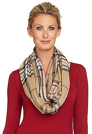 V. Fraas Plaid Cotton Infinity Loop Scarf