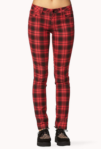 FOREVER 21 Grunge Plaid Skinny Pants