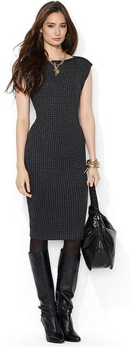 Lauren Ralph Lauren Petite Dress, Cap-Sleeve Houndstooth Boat-Neck