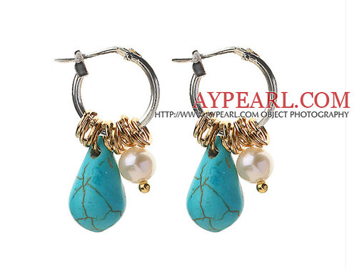 White Freshwater Pearl and Teardrop Shape Turquoise Earrings
