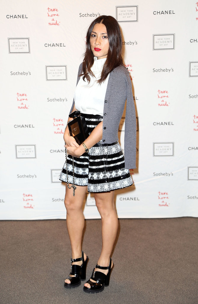 Jen Brill joined the bidding at the Take Home a Nude benefit in a preppy-meets-edgy ensemble.