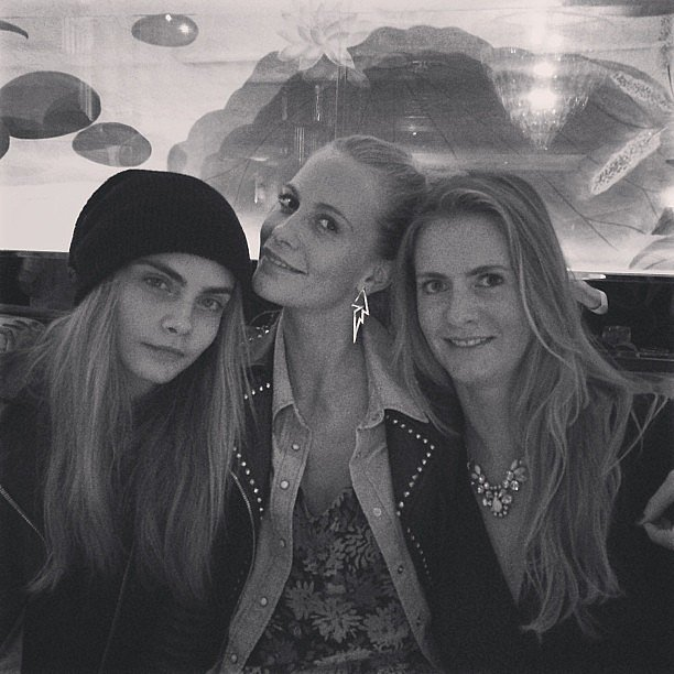 The Delevingne sisters —Cara, Poppy, and Chloe — enjoyed a night out together. Source: Instagram user poppydelevingne
