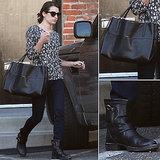 Lea Michele Leopard Sweater and Coach Bag