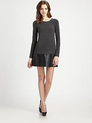 B44 DRESSED Leather-Skirt Dress