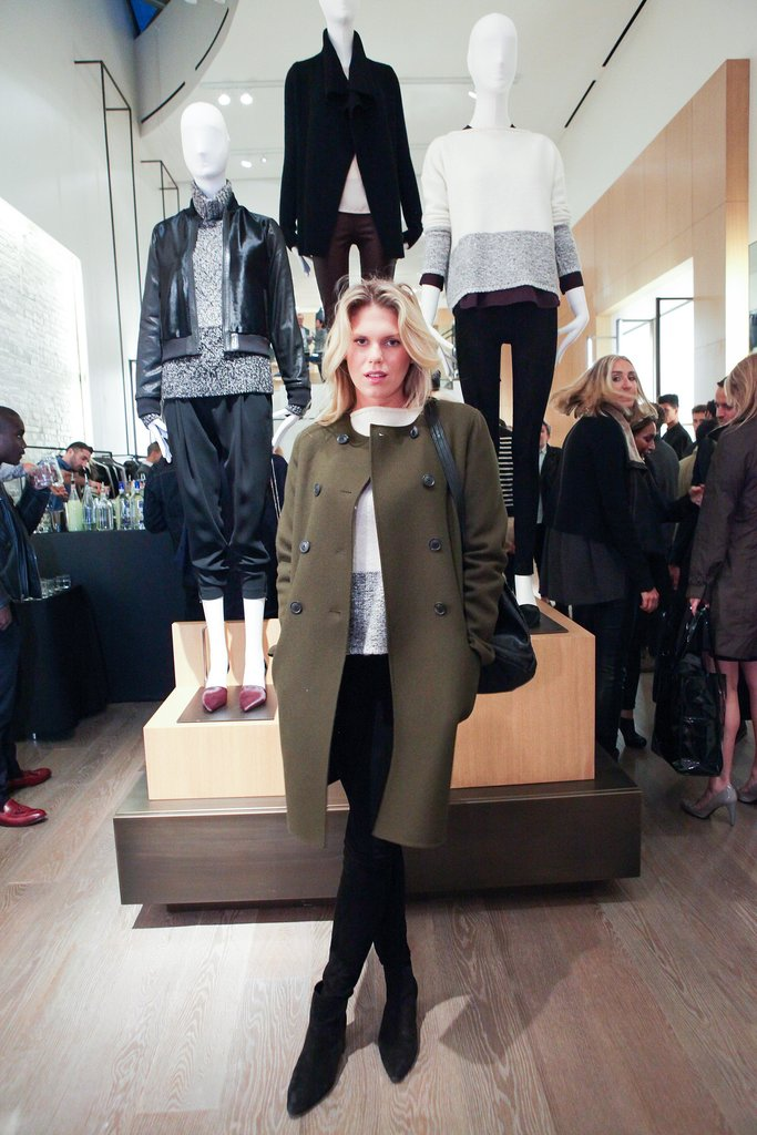 Alexandra Richards helped open Vince's SoHo shop in a Fall-ready topper.