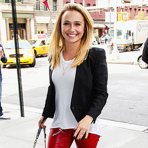 Hayden Panettiere in Red Leather Pants