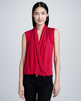Magaschoni Sleeveless Faux-Wrap Top, Rose
