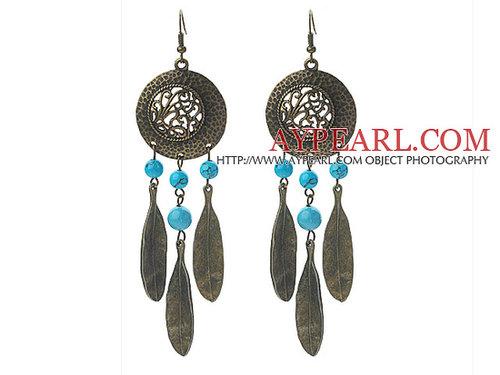 Vintage Style Turquoise and Leaf Shape Metal Earrings