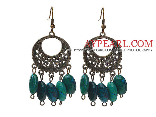 Vintage Style Oval Shape Phoenix Stone Earrings