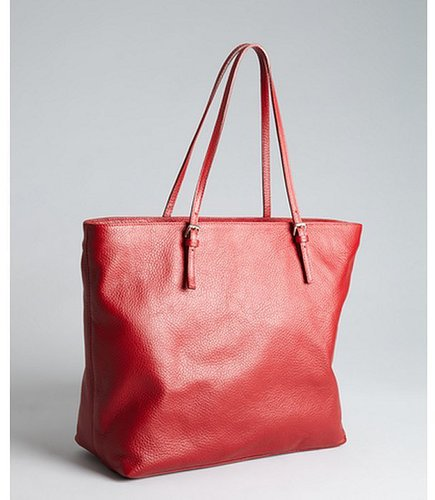 Furla cherry red pebbled leather 'New Shopper' tote