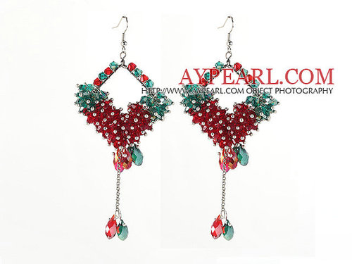 Assorted Rhombus Shape Red and Green Crystal Dangle Earrings