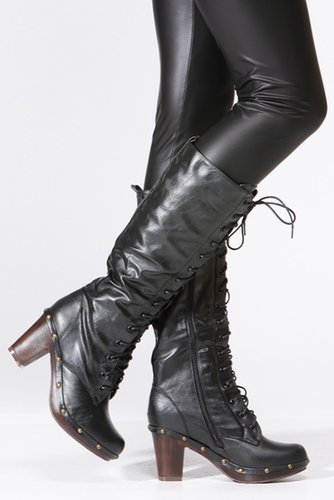 Dollhouse Calf Length Lace Up Black Boot