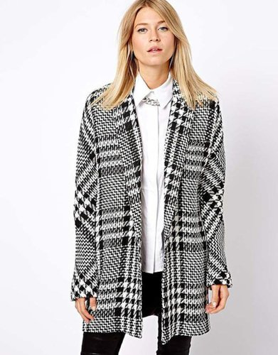 Mango Oversized Boyfriend Checked Coat