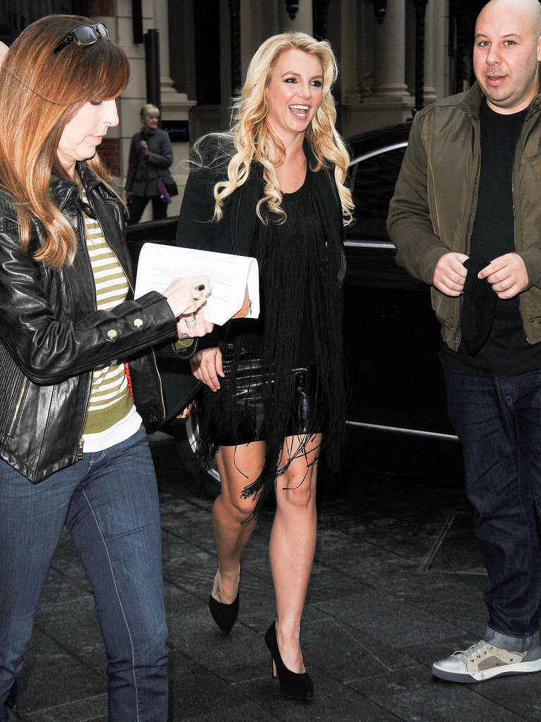 Britney Spears donned a black dress and black heels for her radio appearance.