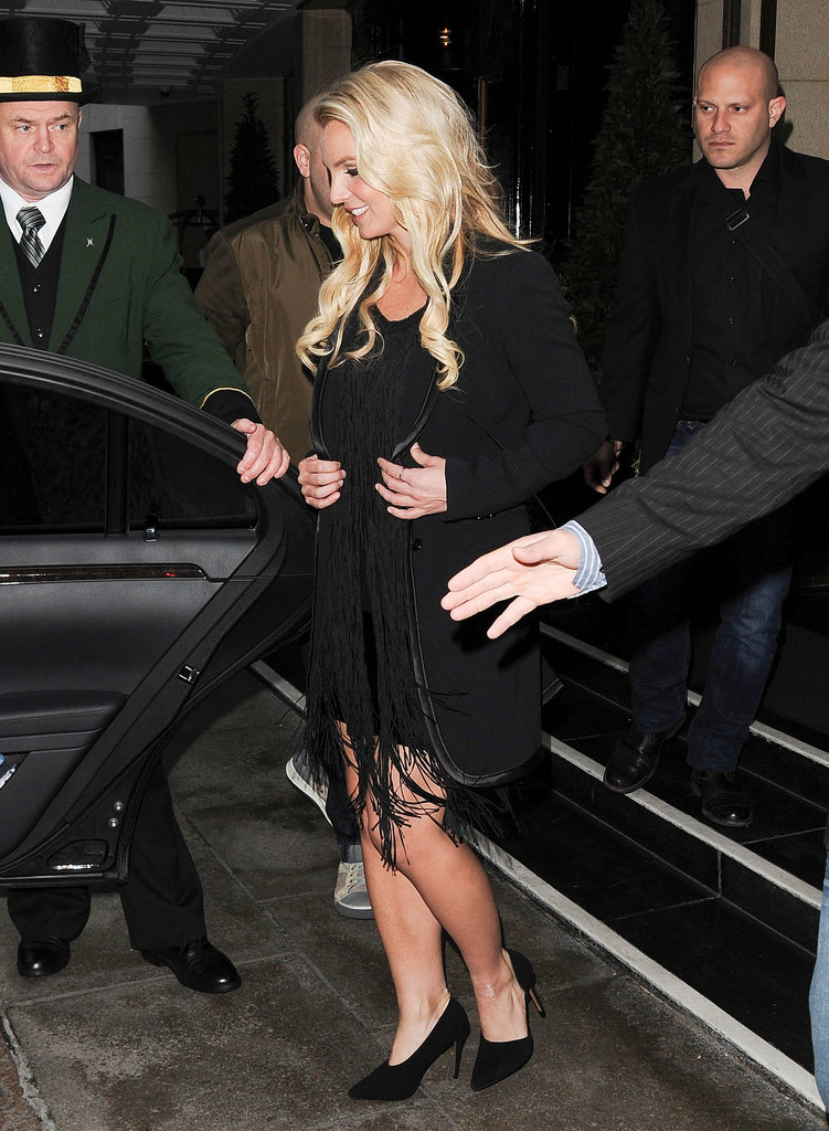Britney Spears jetted to London to promote her upcoming album.