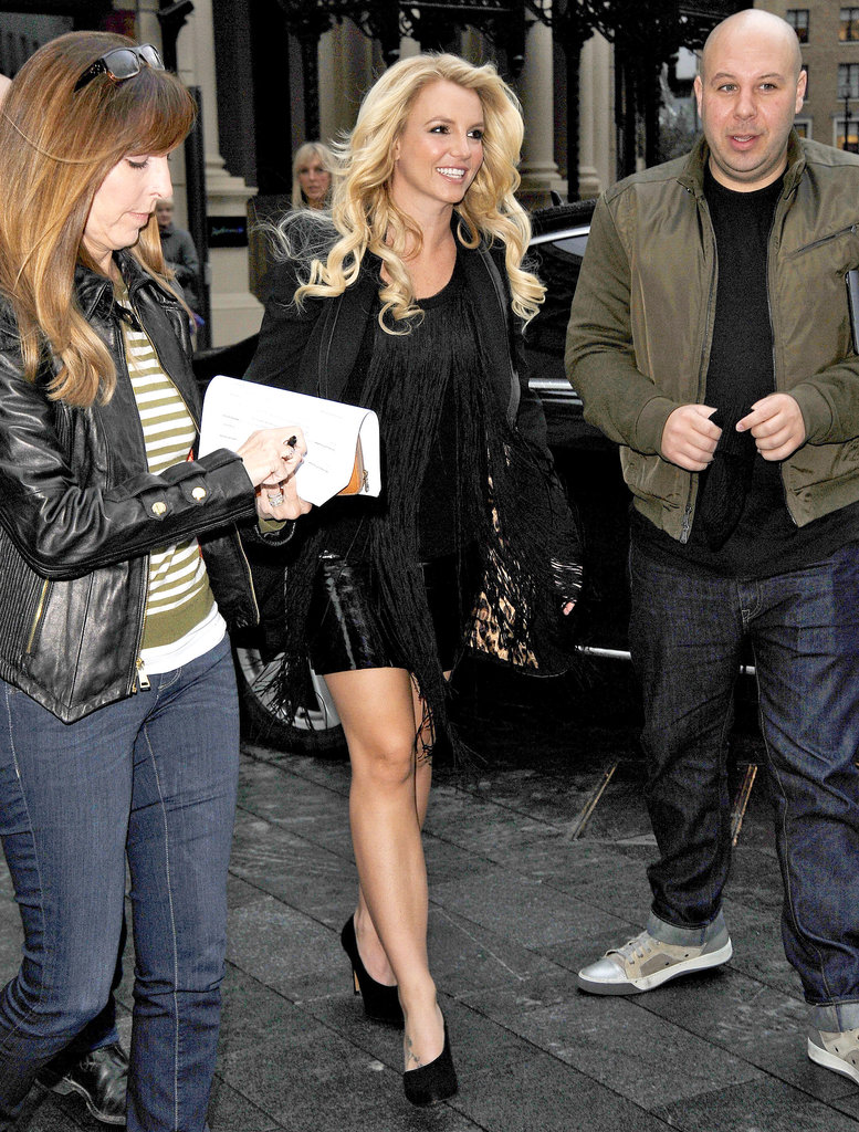 Britney Spears was all smiles while visiting the Capital FM radio station in London.