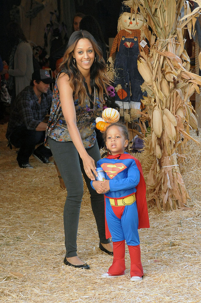 Tia Mowry took her son, Cree, to a pumpkin patch in LA.