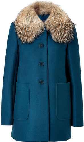 Tara Jarmon Wool Coat in Duck Blue
