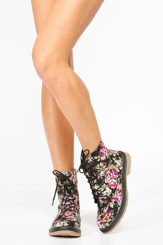 Bamboo Floral Combat Boots @ Cicihot Boots Catalog:women's winter boots,leather thigh high boots,black platform knee high boots,
