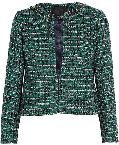 J.Crew Crystal-embellished tweed jacket