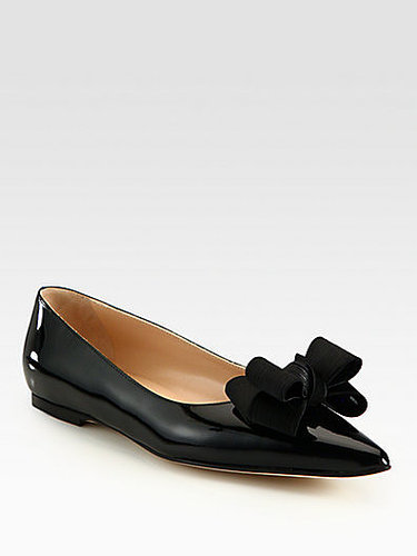 Manolo Blahnik Patent Leather and Silk-Blend Point Toe Bow Ballet Flats