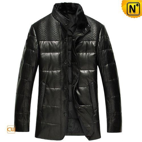 Designer Black Leather Down Coat for Men CW848387