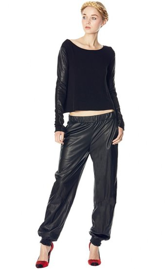 Leather Elastic Cuff Sweat Pants