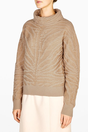 Carven Beige Textured Zebra Stripe Roll Neck Jumper
