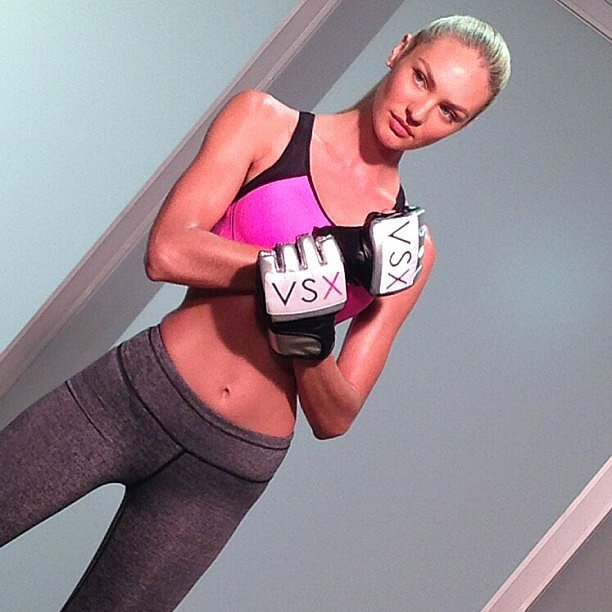 Candice Swanepoel flexed her model muscles for a Victoria's Secret Sport photo shoot. Source: Instagram user angelcandices