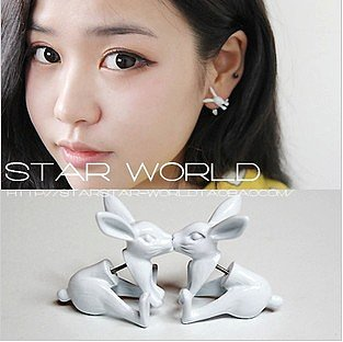 Fluorescent 3D Rabbit Single Earring