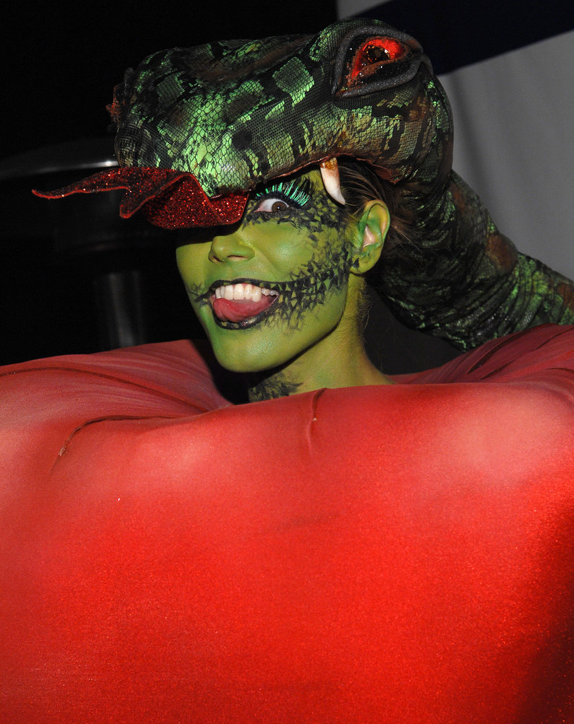 At her 2006 Halloween party, Heidi's costume was part apple, part snake.