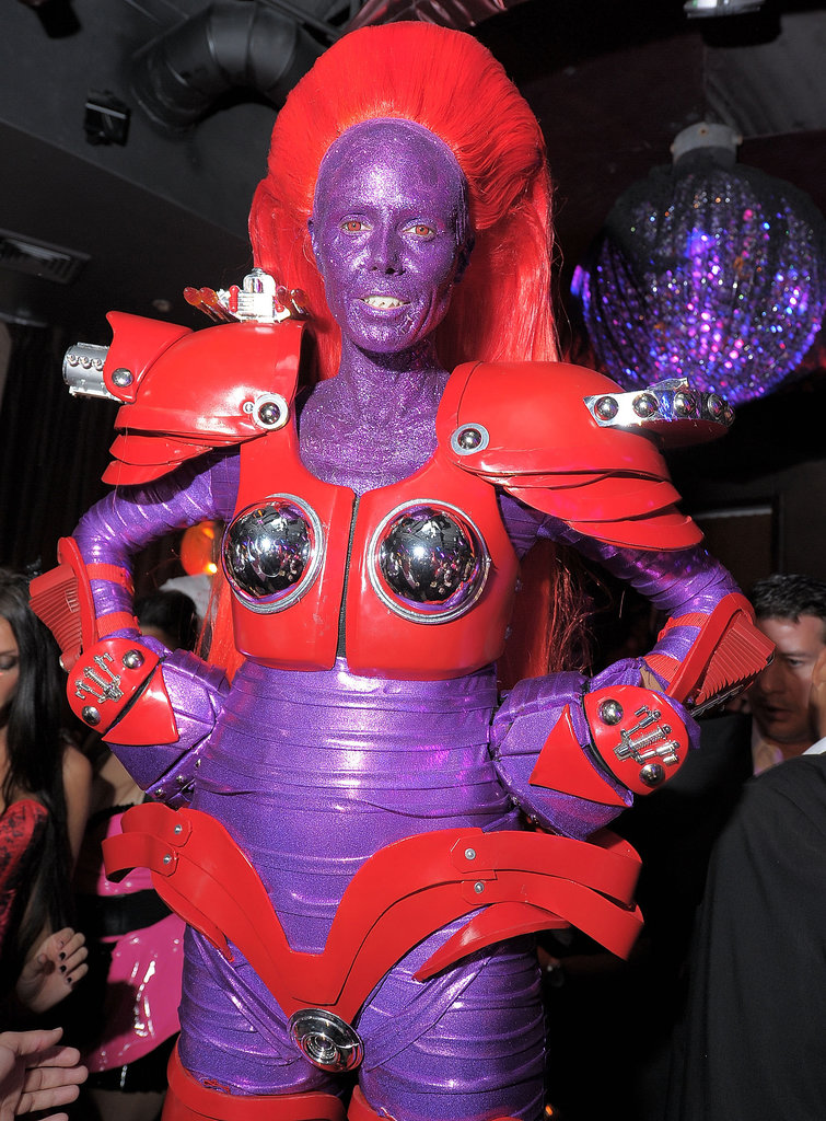 By 2010, Heidi was back to a futuristic look with this red and purple robot costume.