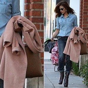 Eva Mendes Denim on Denim With Pink Coat