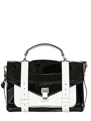 Ps1 Medium Patent Leather Satchel Bag
