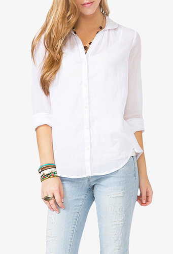 FOREVER 21 Round Collar Sheer Shirt