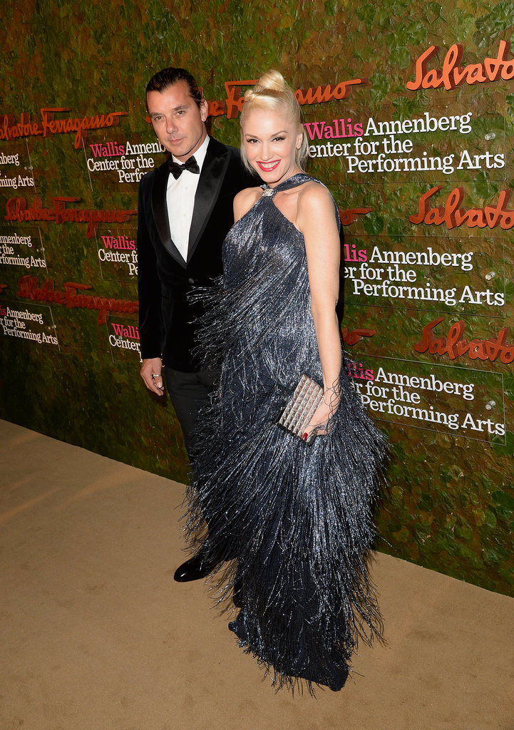 Gwen Stefani was all smiles, spinning to show off her fringed X dress, at the gala with Gavin Rossdale.