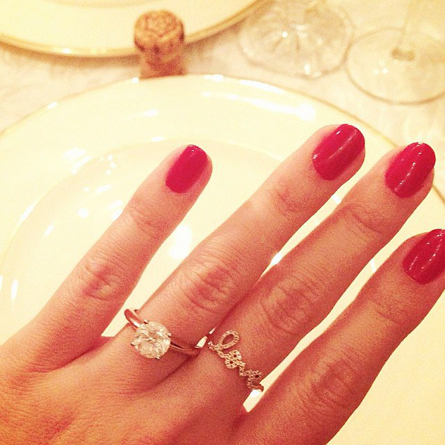 The Lauren Conrad snap (featuring her flawless red manicure and new engagement ring) that sent a million fans of The Hills into a squealing frenzy. Source: Instagram user laurenconrad