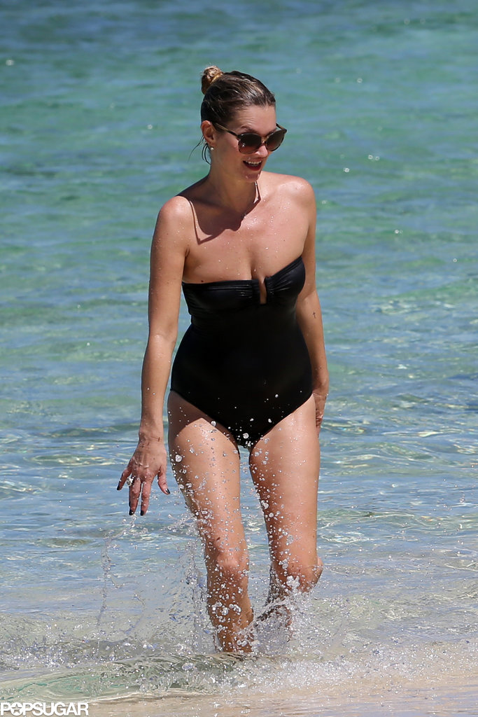 Kate Moss wore a black one-piece while going for a dip in Jamaica.