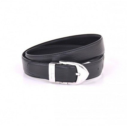 excellent (EX) Louis Vuitton Black Epi 110/44 Ceinture Classique Belt Silver Hardware