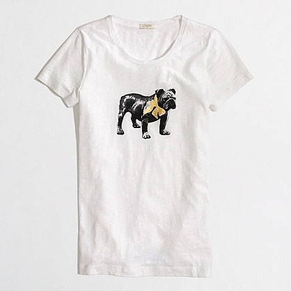 Factory bulldog and bow tee